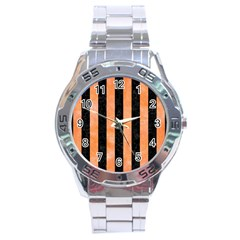 Stripes1 Black Marble & Orange Watercolor Stainless Steel Analogue Watch by trendistuff