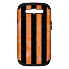 Stripes1 Black Marble & Orange Watercolor Samsung Galaxy S Iii Hardshell Case (pc+silicone) by trendistuff