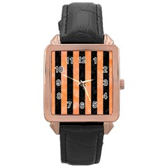 Stripes1 Black Marble & Orange Watercolor Rose Gold Leather Watch  by trendistuff