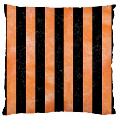 Stripes1 Black Marble & Orange Watercolor Large Flano Cushion Case (one Side) by trendistuff