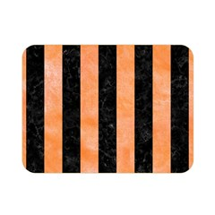 Stripes1 Black Marble & Orange Watercolor Double Sided Flano Blanket (mini)