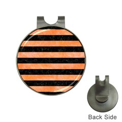 Stripes2 Black Marble & Orange Watercolor Hat Clips With Golf Markers by trendistuff