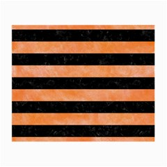 Stripes2 Black Marble & Orange Watercolor Small Glasses Cloth (2 Side) by trendistuff