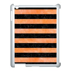 Stripes2 Black Marble & Orange Watercolor Apple Ipad 3/4 Case (white) by trendistuff