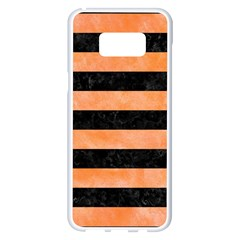 Stripes2 Black Marble & Orange Watercolor Samsung Galaxy S8 Plus White Seamless Case by trendistuff
