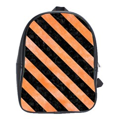 Stripes3 Black Marble & Orange Watercolor School Bag (xl) by trendistuff