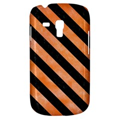Stripes3 Black Marble & Orange Watercolor Galaxy S3 Mini by trendistuff