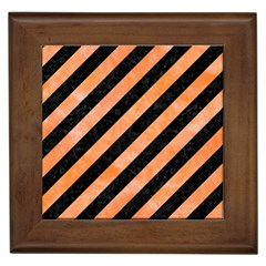 Stripes3 Black Marble & Orange Watercolor (r) Framed Tiles by trendistuff
