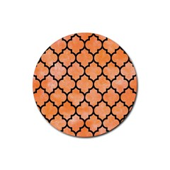 Tile1 Black Marble & Orange Watercolor Rubber Round Coaster (4 Pack)  by trendistuff