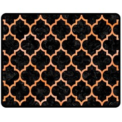 Tile1 Black Marble & Orange Watercolor (r) Fleece Blanket (medium)  by trendistuff