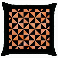 Triangle1 Black Marble & Orange Watercolor Throw Pillow Case (black) by trendistuff