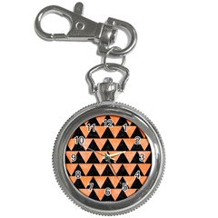 Triangle2 Black Marble & Orange Watercolor Key Chain Watches by trendistuff