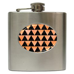 Triangle2 Black Marble & Orange Watercolor Hip Flask (6 Oz) by trendistuff