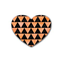 Triangle2 Black Marble & Orange Watercolor Heart Coaster (4 Pack)  by trendistuff