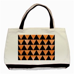 Triangle2 Black Marble & Orange Watercolor Basic Tote Bag (two Sides) by trendistuff