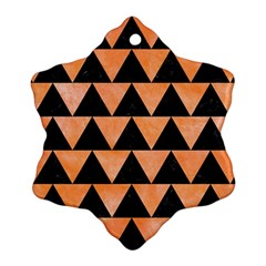 Triangle2 Black Marble & Orange Watercolor Snowflake Ornament (two Sides)