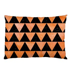 Triangle2 Black Marble & Orange Watercolor Pillow Case (two Sides) by trendistuff