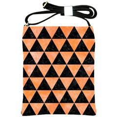 Triangle3 Black Marble & Orange Watercolor Shoulder Sling Bags by trendistuff