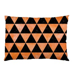 Triangle3 Black Marble & Orange Watercolor Pillow Case (two Sides) by trendistuff