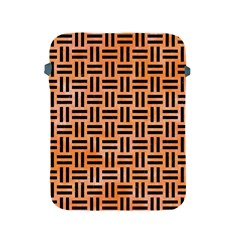Woven1 Black Marble & Orange Watercolor Apple Ipad 2/3/4 Protective Soft Cases by trendistuff
