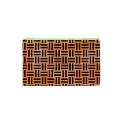 Woven1 Black Marble & Orange Watercolor Cosmetic Bag (xs) by trendistuff