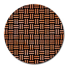 Woven1 Black Marble & Orange Watercolor (r) Round Mousepads by trendistuff