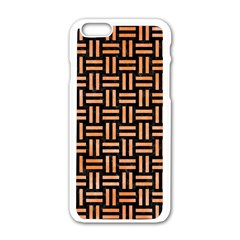 Woven1 Black Marble & Orange Watercolor (r) Apple Iphone 6/6s White Enamel Case by trendistuff