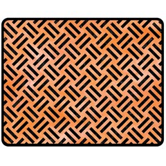 Woven2 Black Marble & Orange Watercolor Fleece Blanket (medium)  by trendistuff