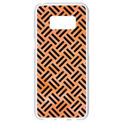 Woven2 Black Marble & Orange Watercolor Samsung Galaxy S8 White Seamless Case