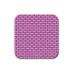 Brick1 Black Marble & Pink Colored Pencil Rubber Square Coaster (4 Pack)  by trendistuff