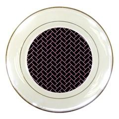 Brick2 Black Marble & Pink Colored Pencil (r) Porcelain Plates by trendistuff
