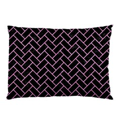 Brick2 Black Marble & Pink Colored Pencil (r) Pillow Case by trendistuff