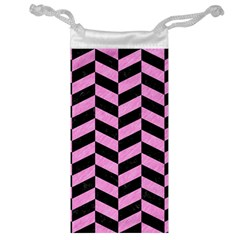 Chevron1 Black Marble & Pink Colored Pencil Jewelry Bag by trendistuff