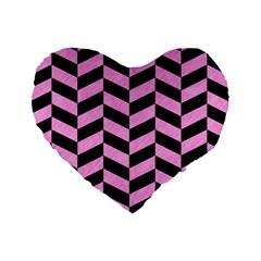 Chevron1 Black Marble & Pink Colored Pencil Standard 16  Premium Heart Shape Cushions by trendistuff
