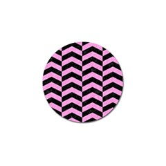 Chevron2 Black Marble & Pink Colored Pencil Golf Ball Marker (4 Pack) by trendistuff