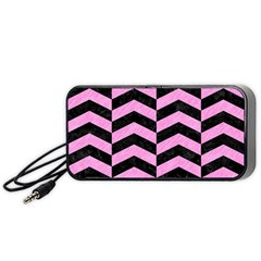Chevron2 Black Marble & Pink Colored Pencil Portable Speaker by trendistuff