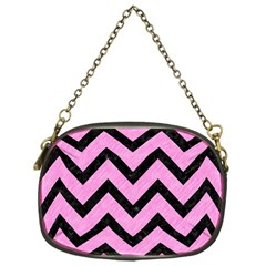Chevron9 Black Marble & Pink Colored Pencil Chain Purses (one Side)  by trendistuff