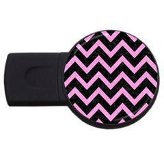 Chevron9 Black Marble & Pink Colored Pencil (r) Usb Flash Drive Round (2 Gb) by trendistuff