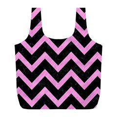 Chevron9 Black Marble & Pink Colored Pencil (r) Full Print Recycle Bags (l)  by trendistuff
