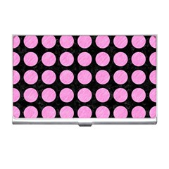 Circles1 Black Marble & Pink Colored Pencil (r) Business Card Holders by trendistuff