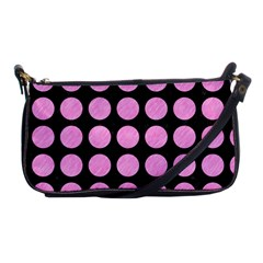 Circles1 Black Marble & Pink Colored Pencil (r) Shoulder Clutch Bags by trendistuff
