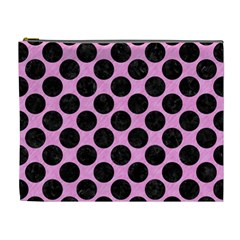 Circles2 Black Marble & Pink Colored Pencil Cosmetic Bag (xl) by trendistuff