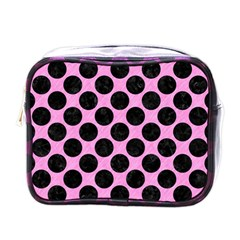 Circles2 Black Marble & Pink Colored Pencil Mini Toiletries Bags by trendistuff