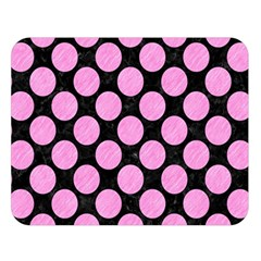 Circles2 Black Marble & Pink Colored Pencil (r) Double Sided Flano Blanket (large)  by trendistuff