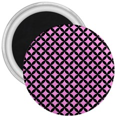 Circles3 Black Marble & Pink Colored Pencil 3  Magnets by trendistuff