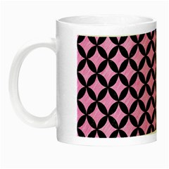 Circles3 Black Marble & Pink Colored Pencil Night Luminous Mugs by trendistuff
