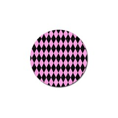 Diamond1 Black Marble & Pink Colored Pencil Golf Ball Marker by trendistuff