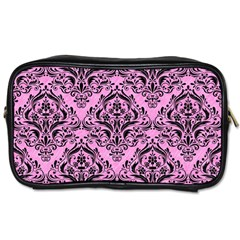 Damask1 Black Marble & Pink Colored Pencil Toiletries Bags 2 Side by trendistuff