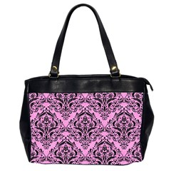Damask1 Black Marble & Pink Colored Pencil Office Handbags (2 Sides)  by trendistuff