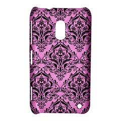 Damask1 Black Marble & Pink Colored Pencil Nokia Lumia 620 by trendistuff